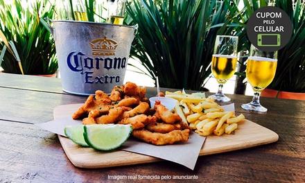 Fish N Chips ou lula à milanesa + cerveja Corona no no Peixe In Box   Mossunguê